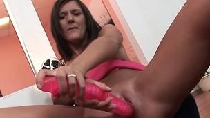 Slender Brunette Chick Fingers Yourselves With Dildo