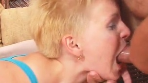 Short-Haired Blonde beauty having mouth shaged And Having porn For cum