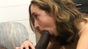 Hot to trot bunny gets picked up and tapped by a darksome guy's shaft