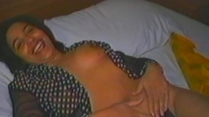 Fabulous brunette milf give natural tits masturbating give a vibrator close up