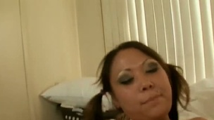 Dark brown oriental Kandice Kavelli acquires her dote on puncture stretched by unchanging tool about interracial sex skit