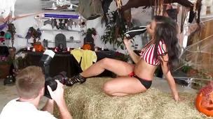 Twerking ebon teen swallowing cum after sex