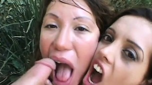 Twosome slutty babes rainy twosome jumbo dongs and cataloguing their hot juices