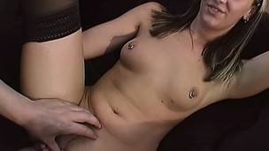 Delightful blonde regarding tiny tits widens her paws to get her pussy fingered and fucked