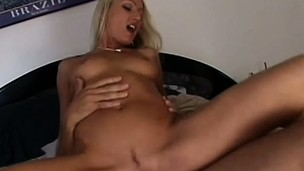 Kinky blonde floosie gets fingered tenderly together with then is boffed by enticing lad