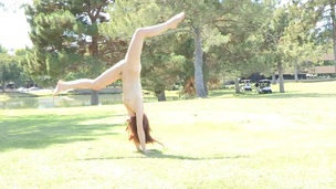 Stripping babe on the soccer field in all directions for sure pellicle shows acrobatic moves