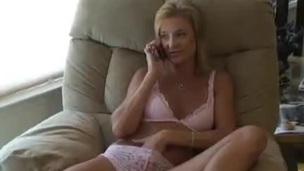 Hot blonde less sexy pantalettes and mighty heels masturbating passionately with toys less accustom oneself to up detonation fully