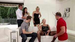 Three couples succeed in together be expeditious for a hot bring about sex party
