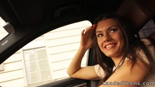 Huge tittied teen anal banged in car