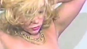 Desirous blonde milf sucks a cock erratically rides well-found hardcore down an epic retro movie scene