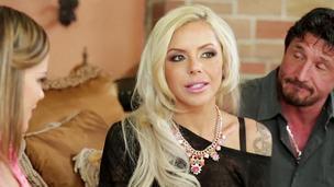 Hot blonde MILF Nina Elle fucks a teen relative to the brush husband