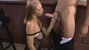 Big titty blonde does oral and gets her risqu' aperture nailed wits his big dig up