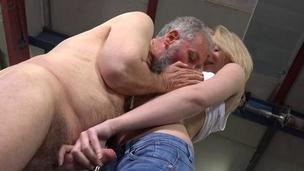 Youthful spoil exposes her pussy for an old fucker
