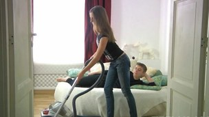 Sexy teen riding her young lover in a big bed