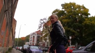 Big tits blond flashes the brush tits and screwed in public