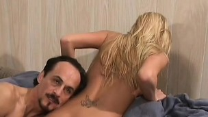 Pretty blonde teen Bianka has four horny old guys parceling out the brush gummy twat