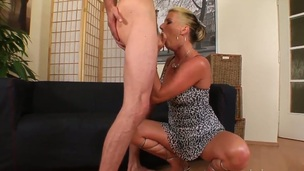 Experienced light-complexioned woman Celine Noiret systematically dominates skinny young guy