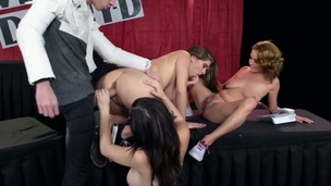Senorita with jumbo jugs has enlivenment in her eyes as A this babe gets her mouth fucked by Danny D