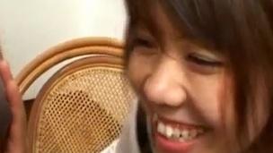Ai Kazumi in school perpetual touches banana